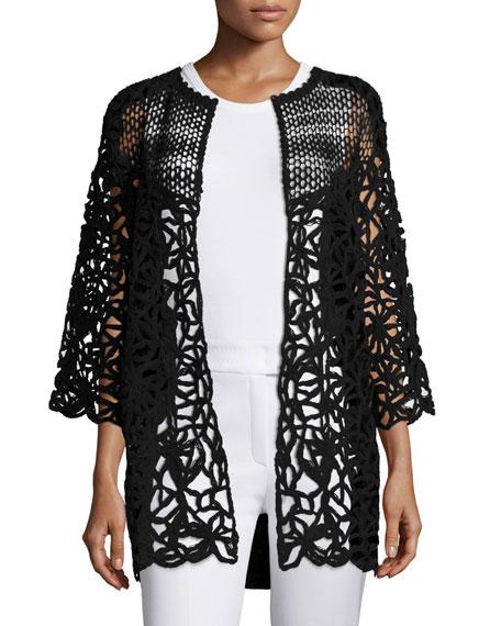 Escada Corded-Lace Open-Front Cardigan, Black