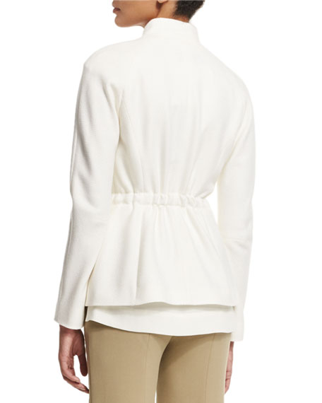 Cashmere Open-Front Jacket W/Belt, Off White