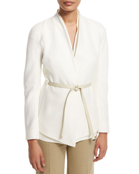 Escada Cashmere Open-Front Jacket W/Belt, Off White
