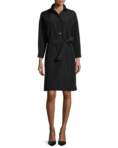 Escada Snap-Front Belted Safari Shirtdress, Black
