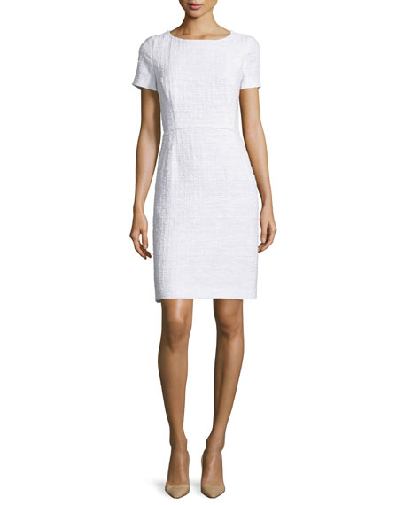 Escada Short-Sleeve Sheath Dress, Frost