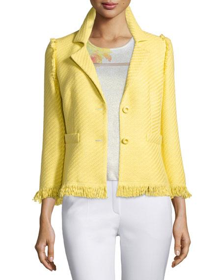 Escada 3/4-Sleeve Two-Button Jacket, Limoncello