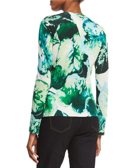 Long-Sleeve Leaf-Print Cardigan, Multi/Green