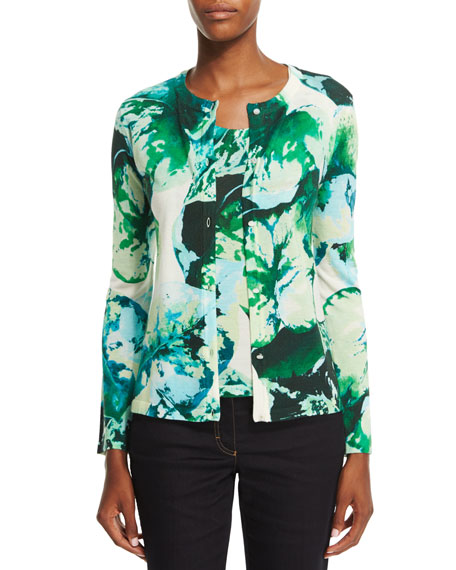 Escada Long-Sleeve Leaf-Print Cardigan, Multi/Green