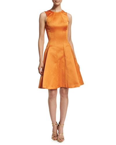 Sleeveless Fit-&-Flare Cocktail Dress, Tangerine