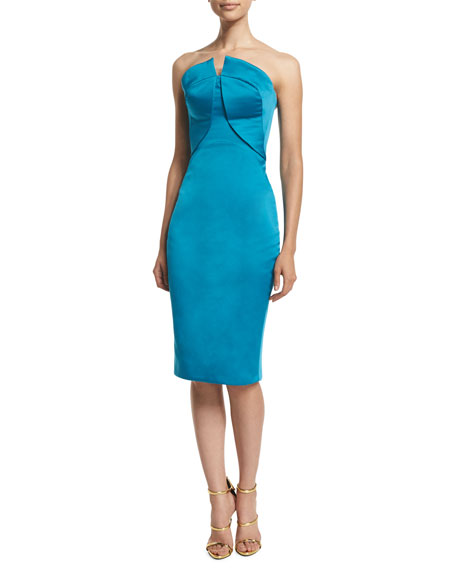 Zac Posen Strapless Fitted Cocktail Dress, Topaz