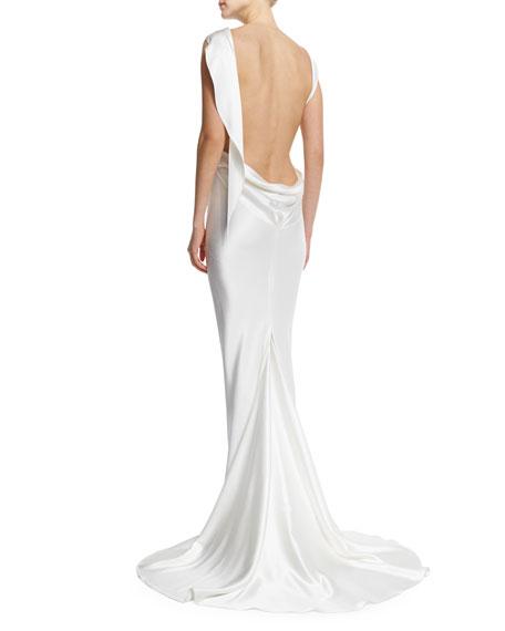 Sleeveless Draped-Back Mermaid Gown, Porcelain