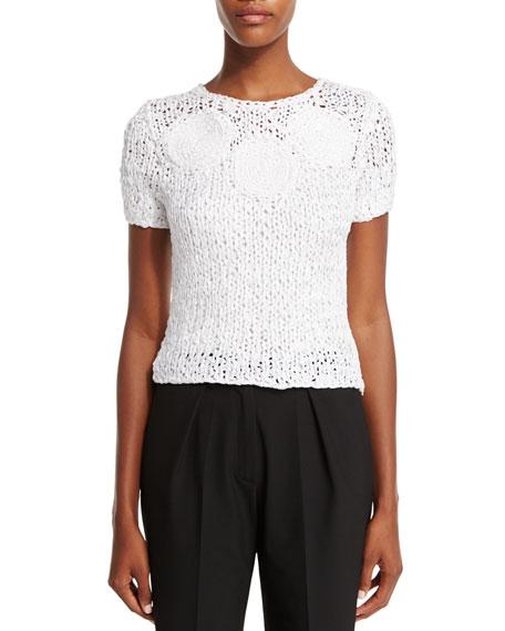 Short-Sleeve Crochet Top, Porcelain
