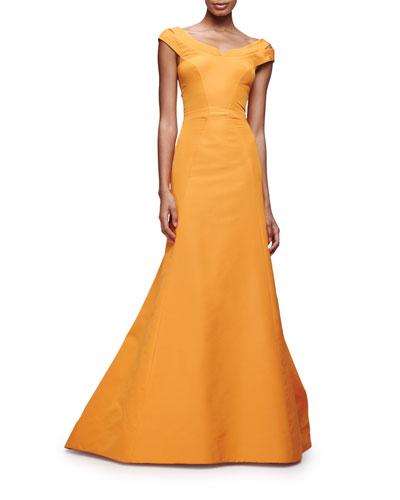Split Cap-Sleeve Mermaid Gown, Tangerine