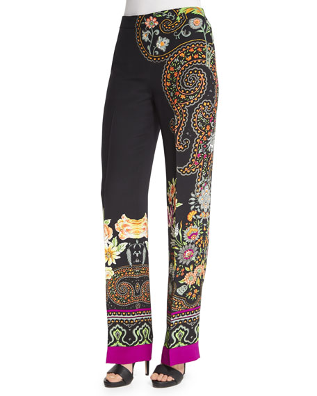 Etro Largo Scroll-Border Pants, Black