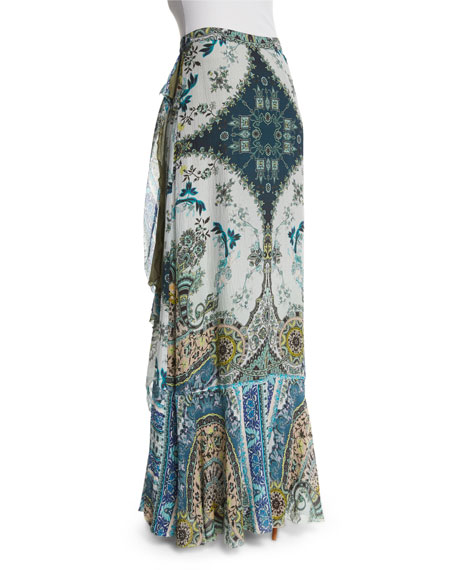 Floral-Print Faux-Wrap Maxi Skirt, Green