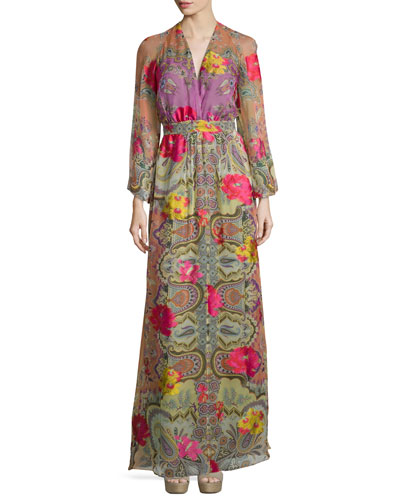 Long-Sleeve Floral-Print Faux-Wrap Gown, Orange