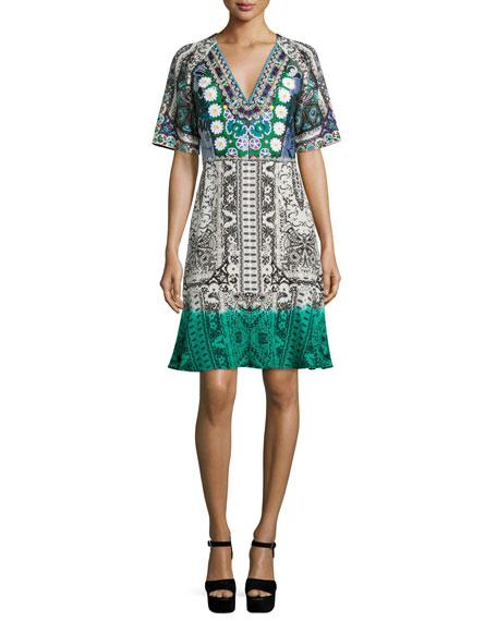 Etro Embellished V-Neck Printed Dress, Black