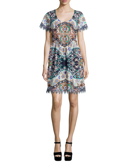 Etro Short-Sleeve Pleated-Waist Dress, Navy