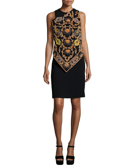Etro Embroidered Handkerchief Dress W/Beading, Black