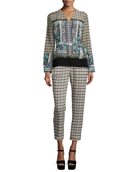 Long-Sleeve Multi-Print Wrap Blouse, Green