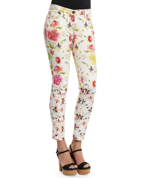 Etro Gradation-Floral Skinny Jeans, White