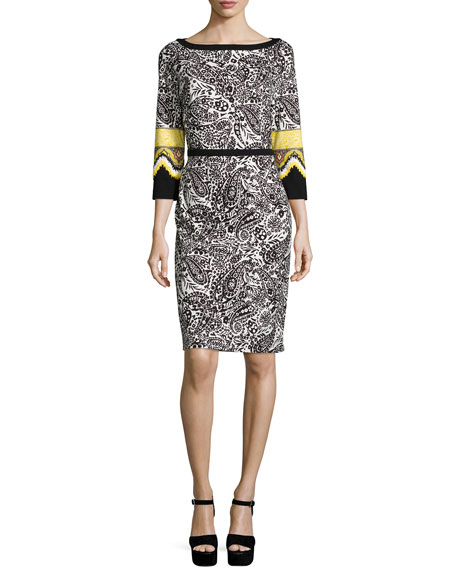Etro 3/4-Sleeve Sheath Dress, Gold