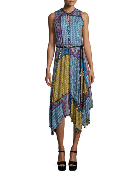Etro Sleeveless Patchwork Handkerchief Dress, Navy