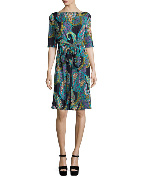 Etro Half-Sleeve Paisley-Print Wrap Dress, Black