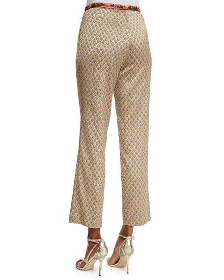 Mid-Rise Cropped Jacquard Pants, Beige