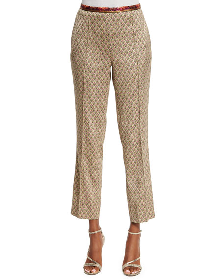 Etro Mid-Rise Cropped Jacquard Pants, Beige