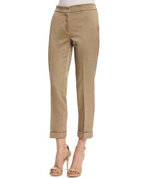Etro Mid-Rise Textured Capri Pants, Beige