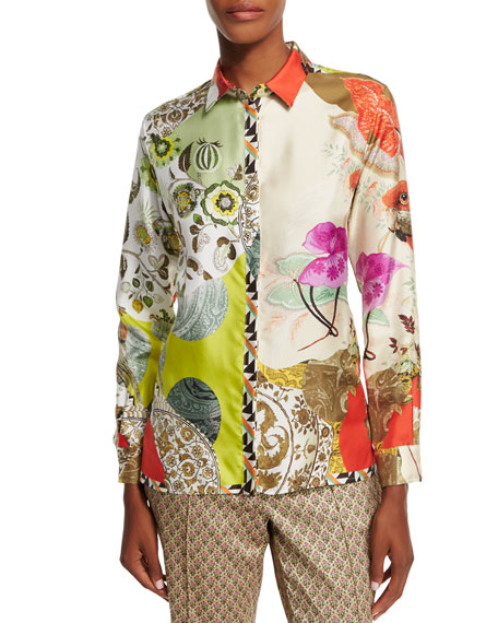 Etro Long-Sleeve Parrot-Print Top, Gold