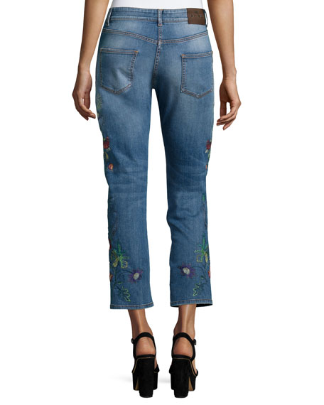 Etro floral embroidered cropped jeans blue