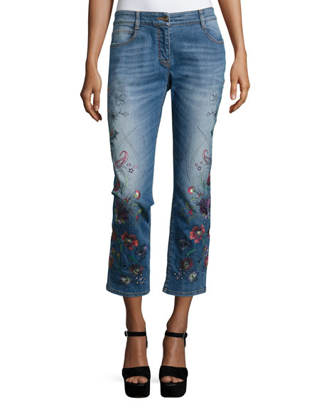 Etro floral embroidered cropped jeans blue neiman marcus