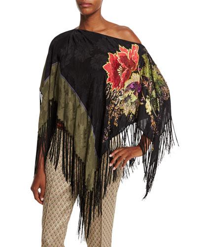 Embellished Floral-Print Poncho W/Fringe, Black