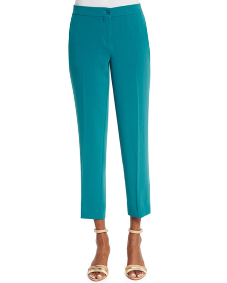 Etro Slim-Fit Cady Capri Pants, Turquoise