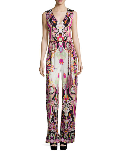 Sleeveless Wide-Leg Paisley-Print Jumpsuit, Black