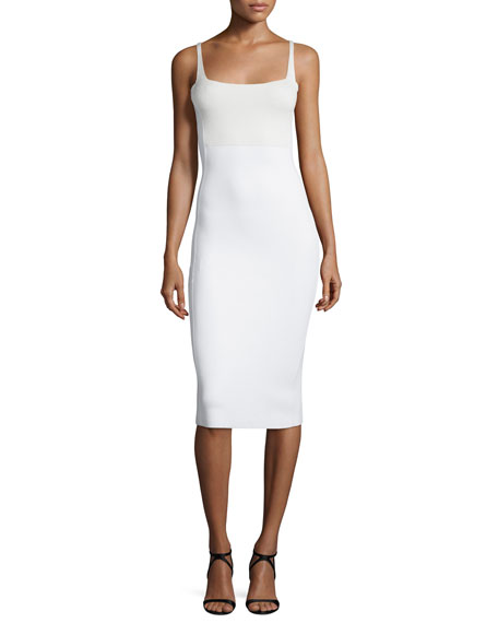 Square-Neck Tank Sheath Dress, White