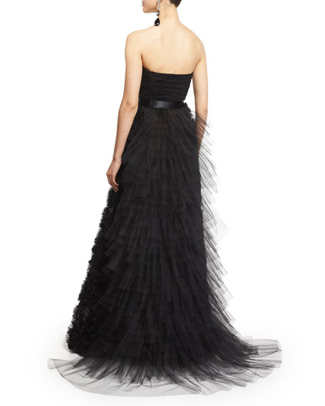 Strapless Embellished-Skirt Gown, Black