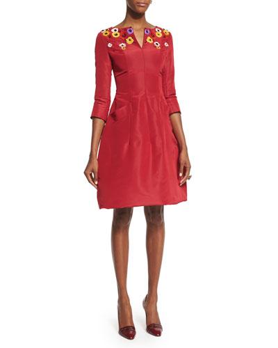 3/4-Sleeve Floral-Embellished Day Dress, Ruby/Multi