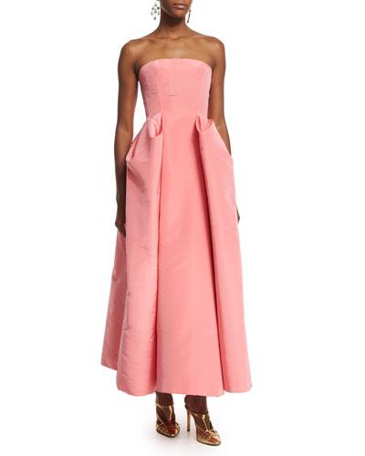 Strapless Pleated-Skirt Midi Gown, Sorbet