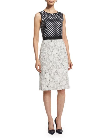 Oscar de la Renta Sleeveless Mixed-Media Day Dress,