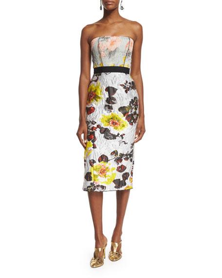Oscar de la Renta Strapless Mixed-Floral Cocktail Dress,