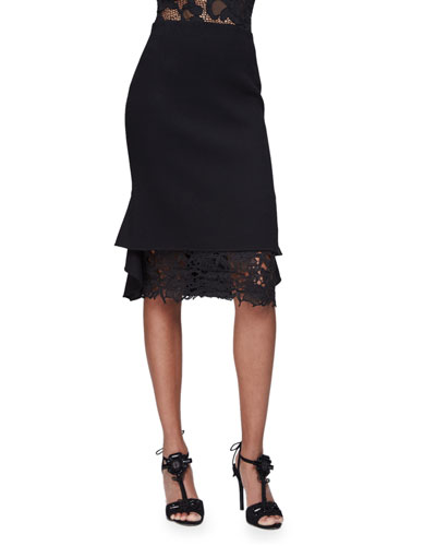 High-Waist Pencil Skirt W/Lace Trim, Black