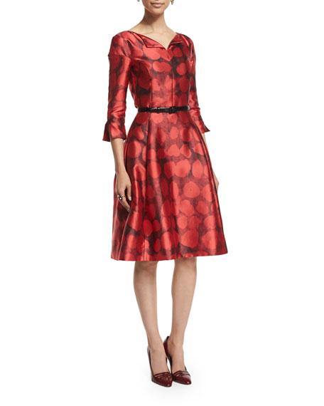 Oscar de la Renta 3/4-Sleeve Fit-&-Flare Day Dress,