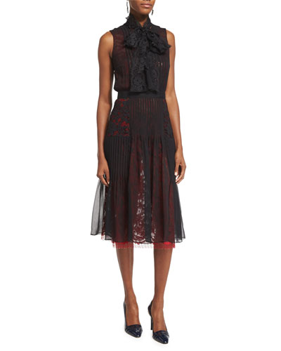 Oscar de la Renta Sleeveless Tie-Neck Dress, Black/Ruby
