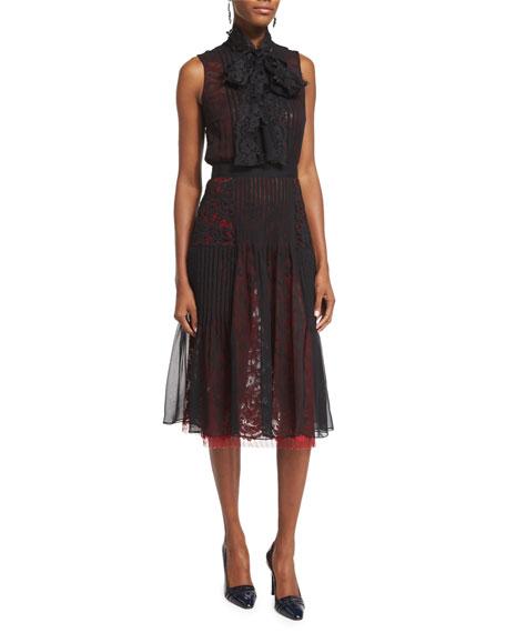 Oscar de la Renta Sleeveless Tie-Neck Dress, Black/Ruby