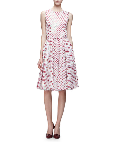 Oscar de la Renta Sleeveless Tiered A-Line Dress, White