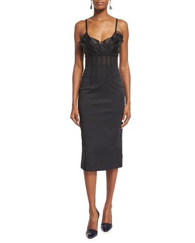 Ruffle-Trim Corset-Top Cocktail Dress, Black