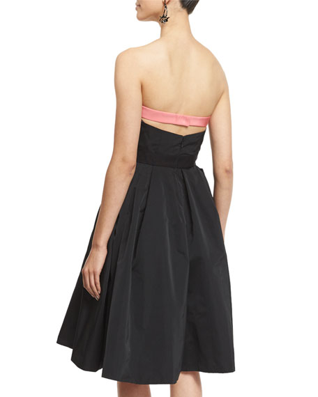 Strapless Two-Tone Cocktail Dress, Black/Sorbet
