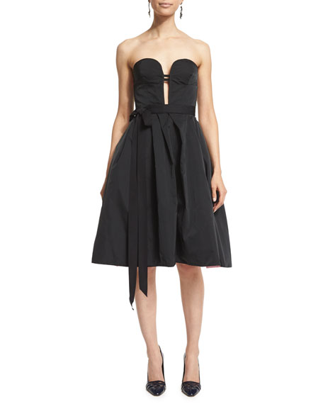 Oscar de la Renta Strapless Two-Tone Cocktail Dress,