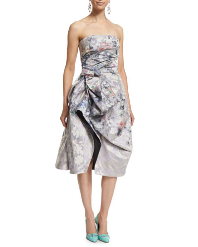 Strapless Floral-Print Cocktail Dress, Pale Lilac