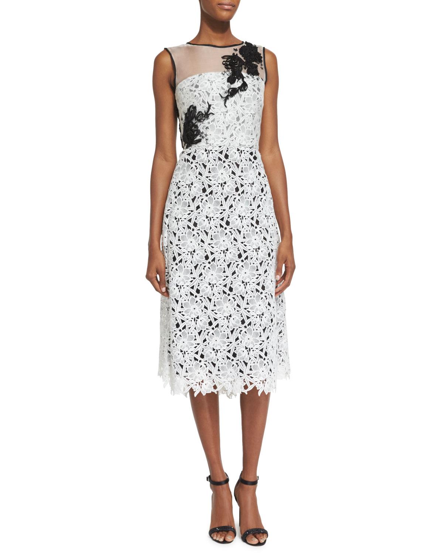 Oscar de la Renta Sleeveless Lace Cocktail Dress, White/Black ...