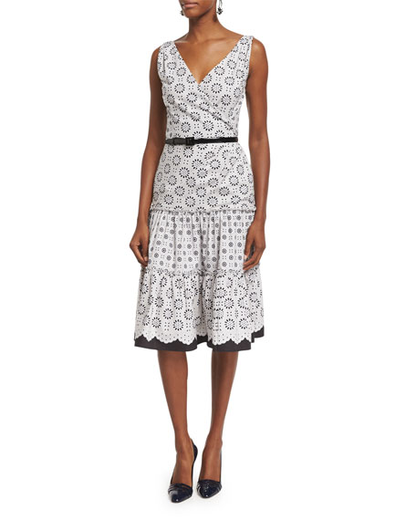 Oscar de la Renta Sleeveless Tiered-Skirt Day Dress,